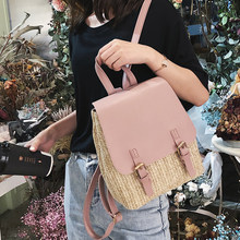 fc8207fa38 ETAILL 2018 Summer Style Beach Straw Backpack with Pu Leather Flap Designer  High Quality Woven Traveling Girls Backpack Back Bag