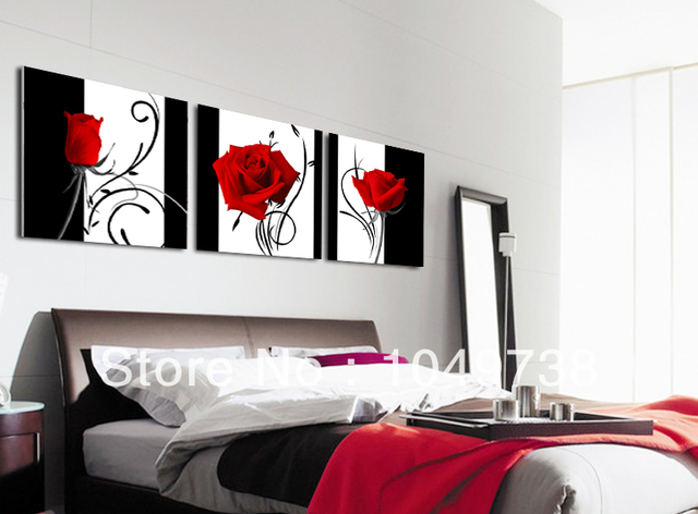 Free Shipping Flower Wall Canvas Paintings Red Rose Modern Art For