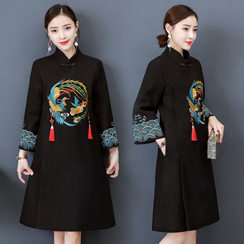 Black Chinese Style Dress 2019 Japanese Fashion Dress New Year Women Cheongsam Qipao Femal Yukata Kimonos Vietnam Dress AA4515