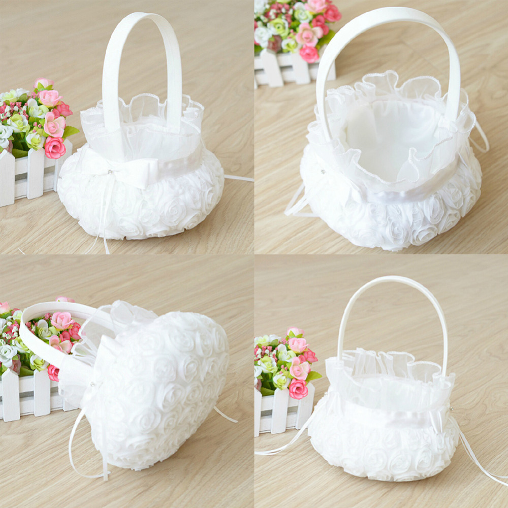 Wedding Ceremony Party Love Case Satin Lace Bowknot Rose Flower Basket For Women Girl DIY Home Decoration Storage Bag Container In Artificial Dried
