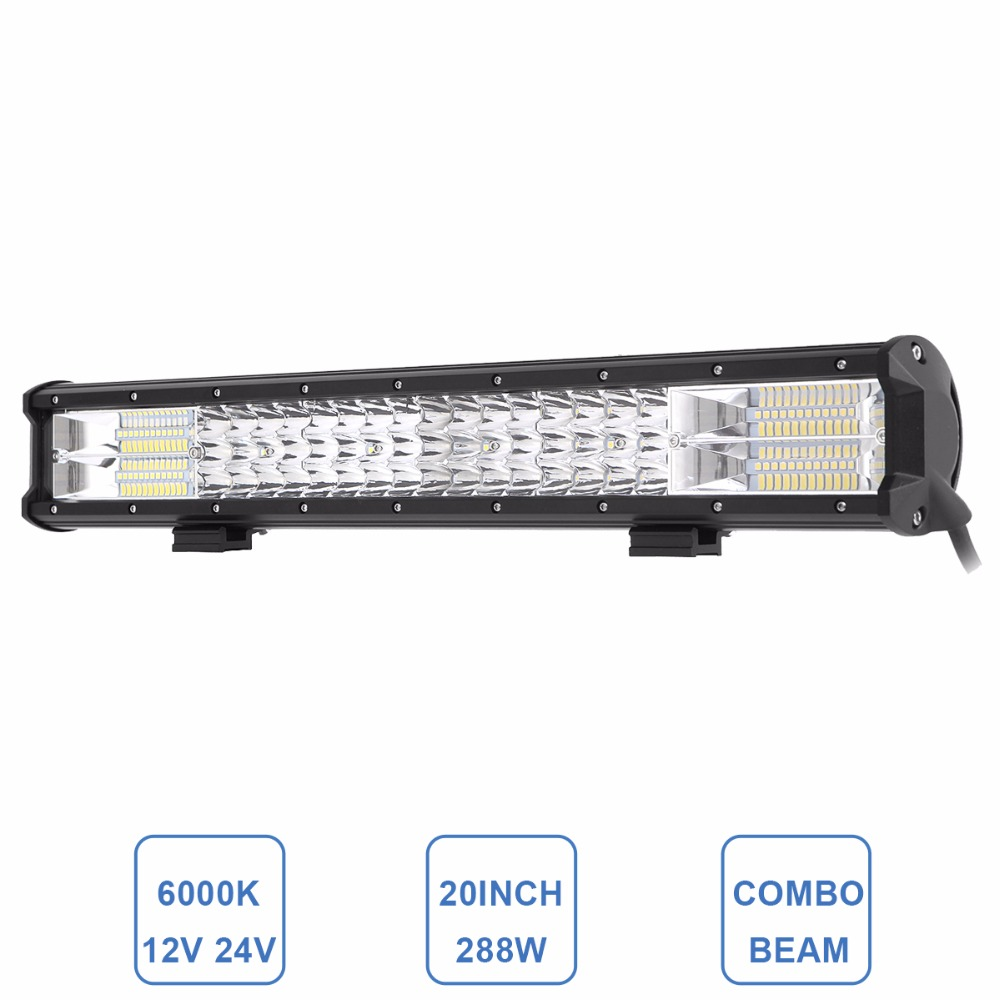 Offroad 20'' LED Work Light Bar 288W Car Truck Trailer Wagon RZR 4X4 4WD ATV Pickup Boat UTE Combo Beam LED Driving Lamp 12V 24V 5d cree 60w 7 spot flood beam led work light bar 12v offroad 24v 4x4 4wd rzr led fog lamp atv utv trailer truck camper tractor