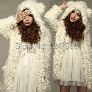 2017 New Autumn/Winter Warm Hoodies/Sweatshirts for Girls&Women Japanese Cute White Coat Bear ears hood long style Hoodies