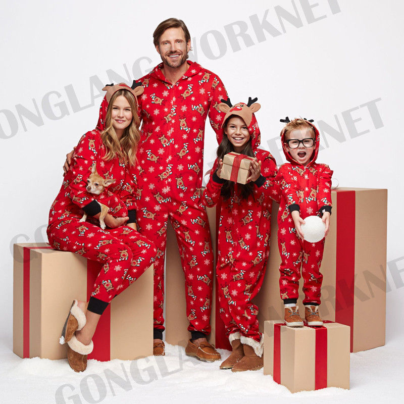 Winter Warm Family Matching Cute Deer Printing Christmas Hoodie 3D Deer Ears Pajamas PJs Sets Xmas Sleepwear Nightwear