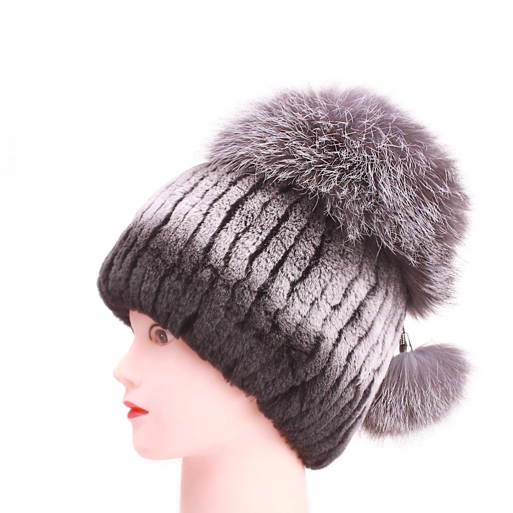 Women's skullies Beanies girls Hats Real Fur Leather Top For women cap Rabbit Fur Fox Hats Solid Russian Winter Caps hat female skullies