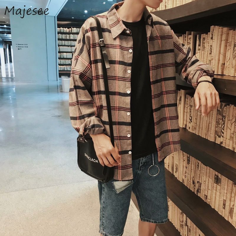 Shirts Men Plaid Long Sleeve All Match Daily Korean Style Mens Hot Sale Loose High Quality Trendy 2019 Leisure Students Shirt