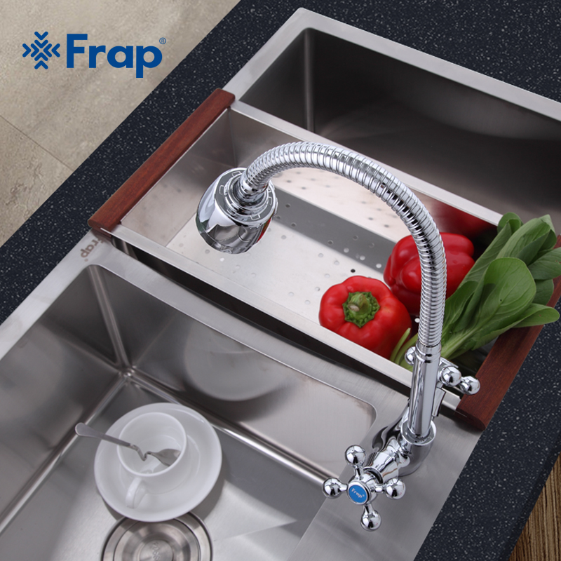 Frap Double handle Kitchen faucet Mixer Cold and Hot Kitchen Tap Single Hole Water Tap Dual