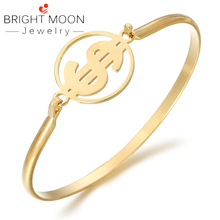 BRIGHT MOON Good Quality Bangle Stainless Steel USD Shape Gold Famous Brand Bracelet Punk for Women Men Best Gift Jewelry