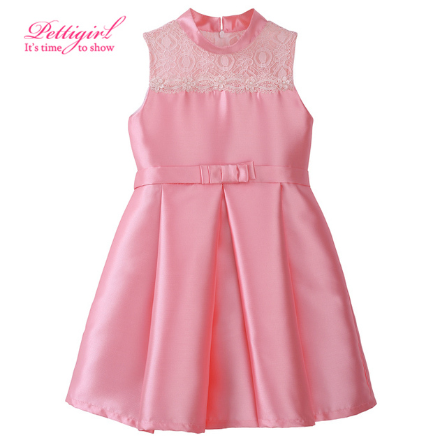 Retail Pink Girl Princess Dress Patchwork Girl Weeding Vestidos de Encaje Hueco Ropa Niños GD81020-4L