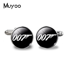 fashion 2017 Silver Plated Cufflinks Classic Bond 007 Pattern glass Cufflinks Mens t quality shirt cufflinks