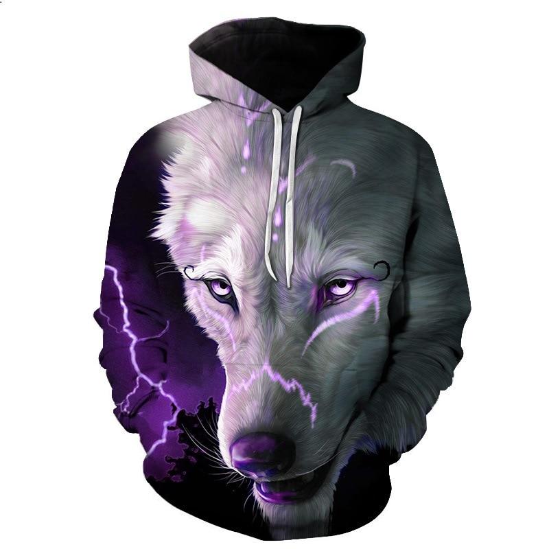 2018 3D Printed White Wolf Women/Men Purple Sweatshirt Hoodies Front Pocket Loose Hooded Hoodies Long Sleeve Unisex Hoodies Warm