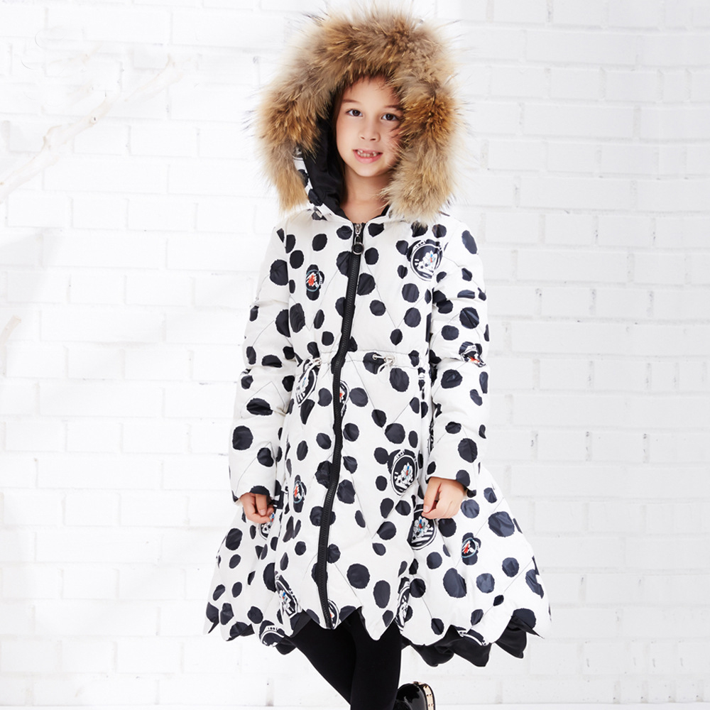 Teen Girls Winter Jackets Black White Floral Print Children Warm Duck Down Coat Kids Fur Hooded Outerwear Winter Thicken Parkas warm fur collar solid white duck down 5 14t boy winter down parkas hooded winter coat long down thickening coat free shipping