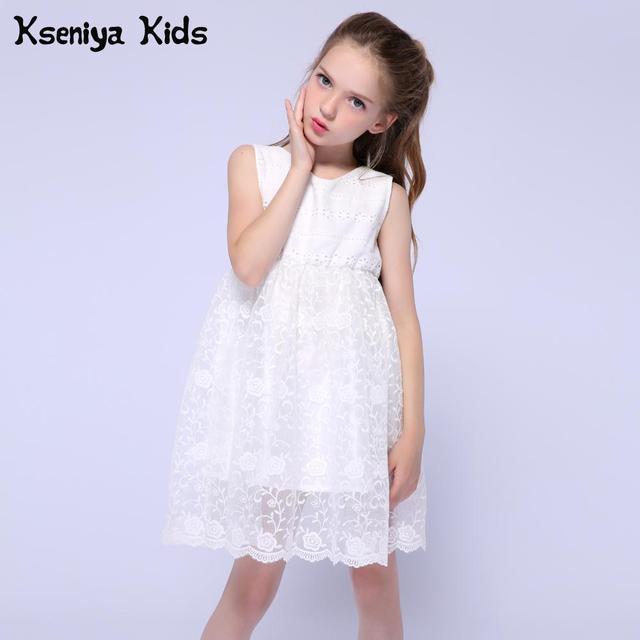 Kseniya Kids Girls Dresses For Party And Wedding Flower Girls Dress Princess Girl White Lace Dress Children Evening Dresses