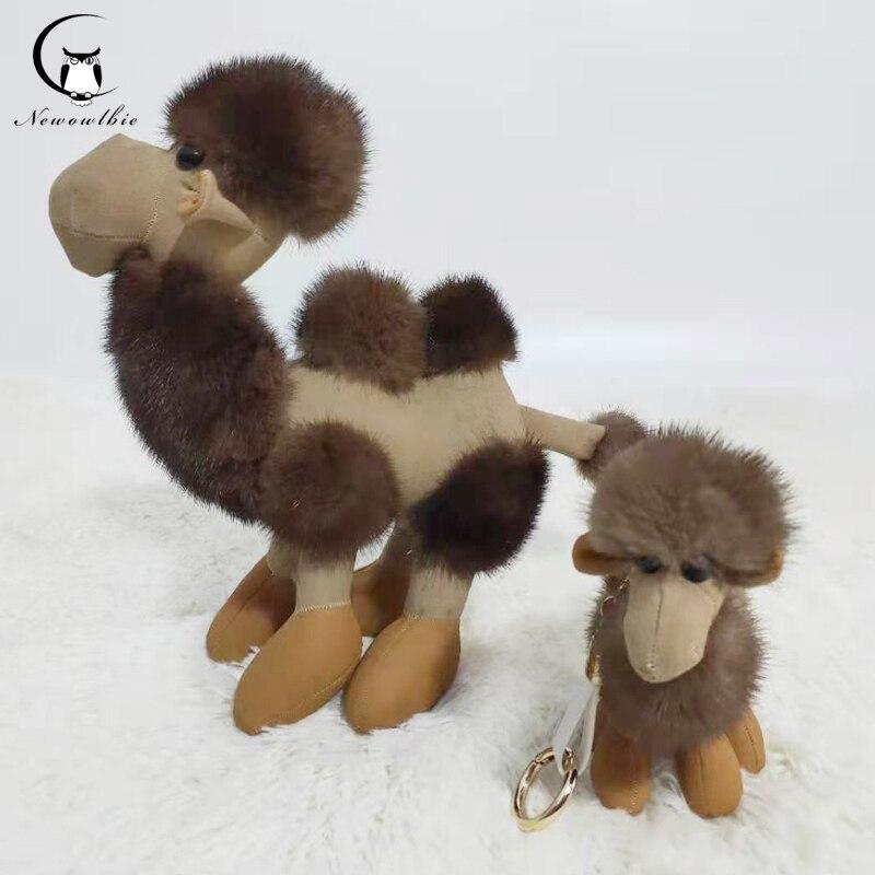 2019 dernière 100% naturel fourrure de vison camel animal poupée porte-clés sac à main sac à main voiture porte-clés téléphone portable porte-clés accessoires de fourrure