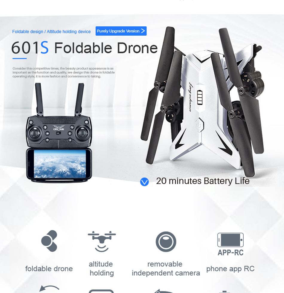 RC Helicopter KY601S Professional Drone with Camera HD 1080P WIFI FPV Quadcopter Drone Toys for Kids 15 Minutes Playing Time 4