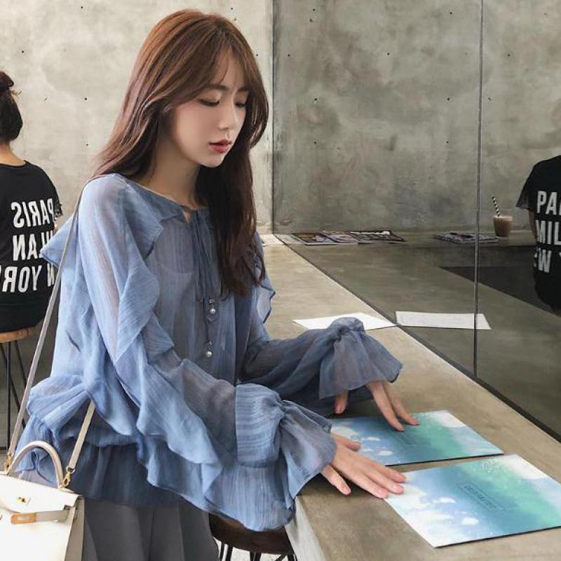 2019 Spring New Arrival Korean Style Ruffle   Blouse   Fairy Temperament Loose Chiffon   Shirt   Full Sleeve Ruffled   Shirt   Free Shipping