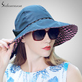 Sedancasesa hot Wide Brim Sun Hat for Women summer bucket hat sun protect beach hat for foldable Cycling cap 5 color WG015241