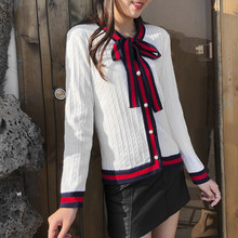 2019 Luxury Designer Brand Winter Knitted Cardigans Women Bow Twist Pearl Botton Stripe Sweater Black White Red Jumper Clothing(China)