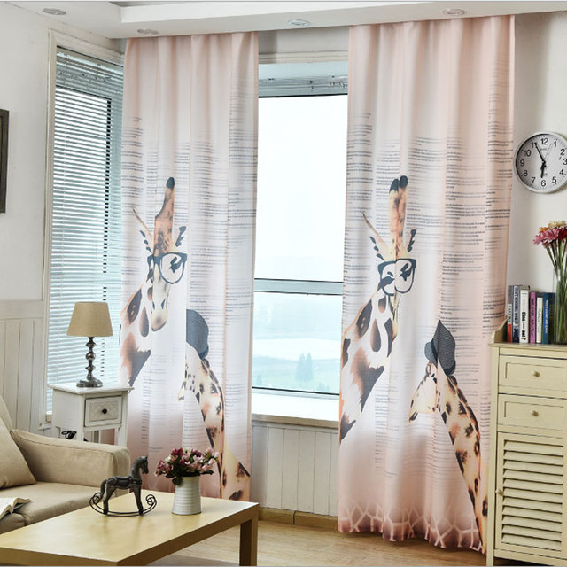 Freies Verschiffen 2017 Neue Cartoon Blackout 3D Vorhang Giraffe Moderne  Wohnzimmer Vorhänge Für Kinder 0106