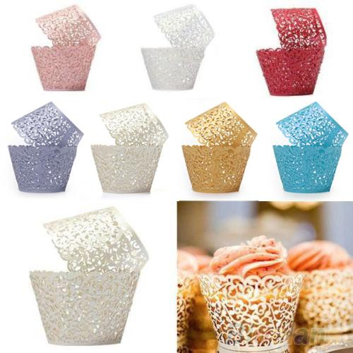 12ocs/set Hollow Muffin Cupcake Paper Cups Wedding Birthday Baby Shower Filigree Vine Decor Wrapper Wraps Cupcake Cases
