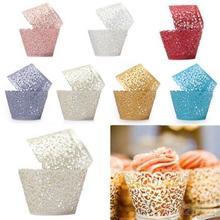 12ocs/set Hollow muffin babeczka papierowe kubki ślubne na urodziny i bociankowe filigranowe dekoracje z winoroślą owijki papilotki do ciastek lub babeczek