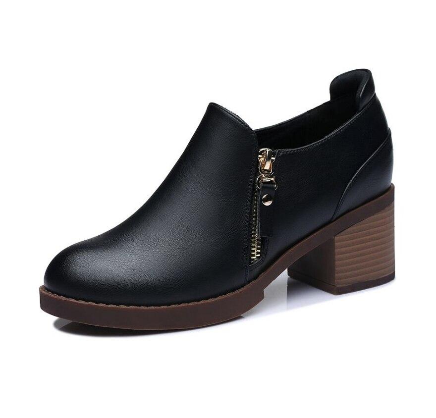 Cuadrado Nancyjayjii Zapatos Chaussure Vestido Zip Redondo Talón Otoño Genuino Carrera 2018 Black Heels Chunky Oficina Cuero Negro Moda xa8q6ZO
