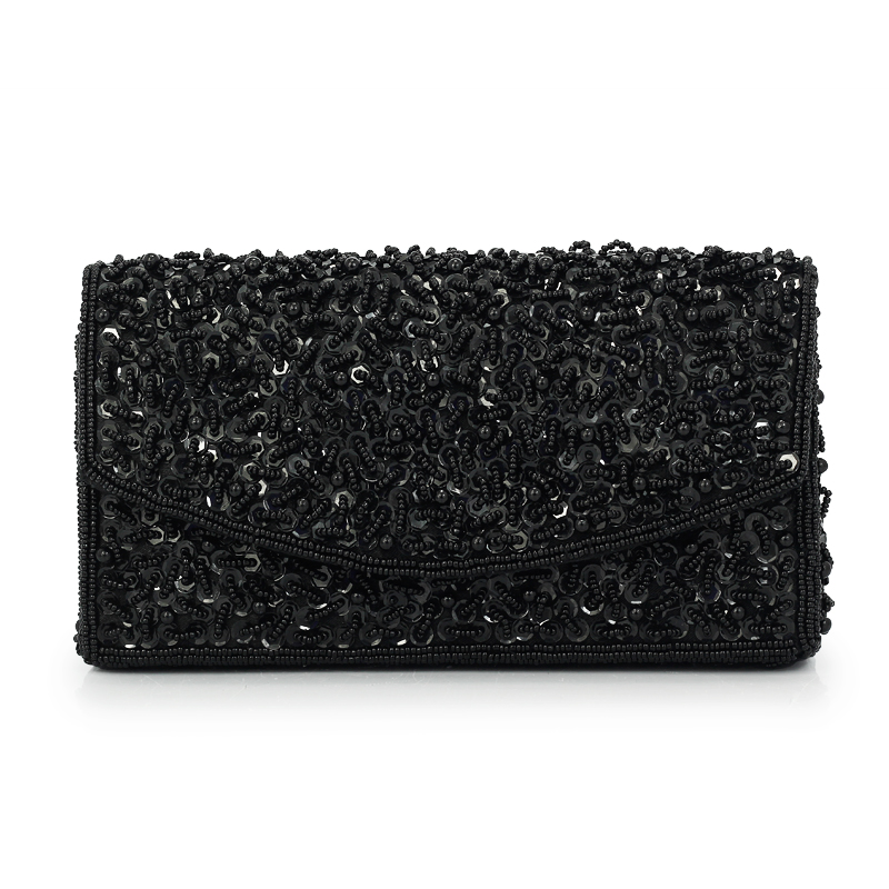 2017 Fashion Beaded Women Clutches Handmade Bridal Bag Wedding Party Chain Shoulder Black Evening Clutch Bag Black(C1310) new women s retro hand beaded evening bag wedding bridal handbag chain shoulder bag stitching sequins diamond stone day clutches