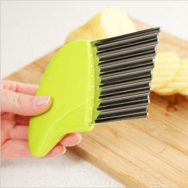 1 pcs pommes frites kniv grøntsag - kartoffel chips gør peeler bølget knive frugt grøntsager shredder køkkenværktøj til tynd ...