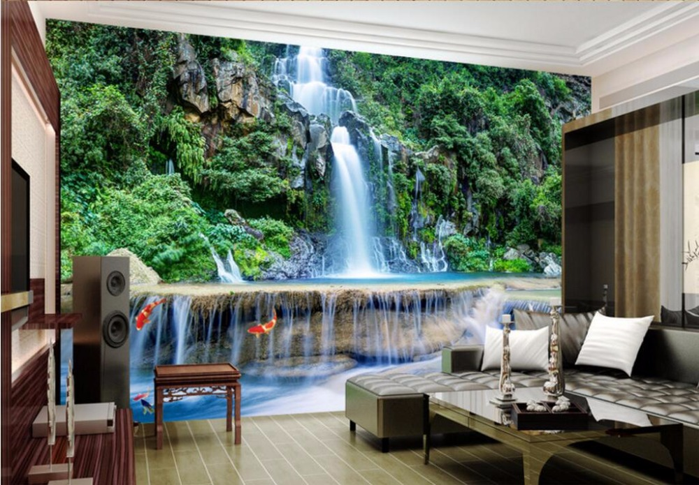 Custom photo 3d wall murals wallpaper mountain waterfalls water decor painting picture wallpapers for walls 3 d living room 3d wall murals wallpaper for living room walls 3 d photo wallpaper sun water falls home decor picture custom mural painting