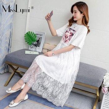 216441559 M-4XL Mujer Plus tamaño vestido de verano de 2019 belleza chica Impresión  de manga corta Camiseta de algodón Patchwork Sexy de encaje de Midi vestidos  ...
