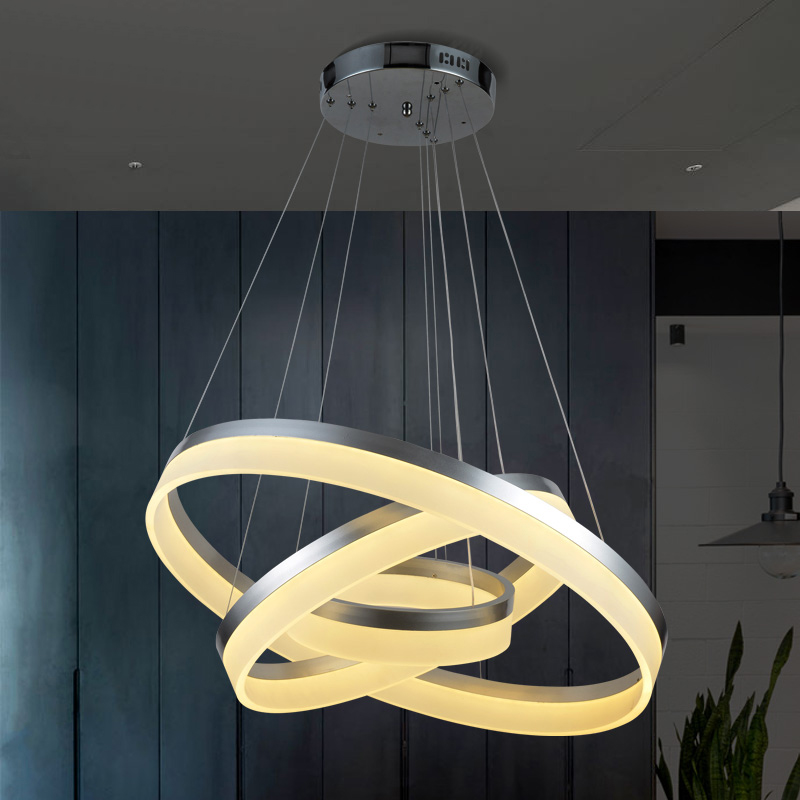 Silver black white Modern LED Pendant Lights for Living diningroom kitchen light fixture aluminum Acrylic hanging