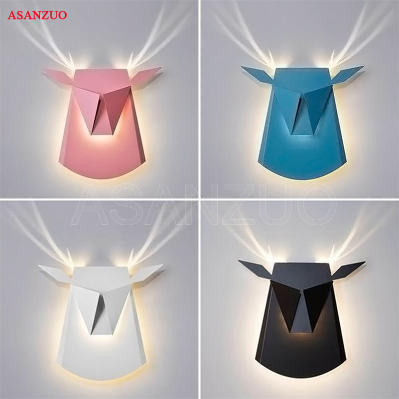 цены Deer Head Wall lamp Creative Led Wall Lamp For Bedroom Bedside Living Room Corridor Hotel Decorative Modern Led Wall Lights