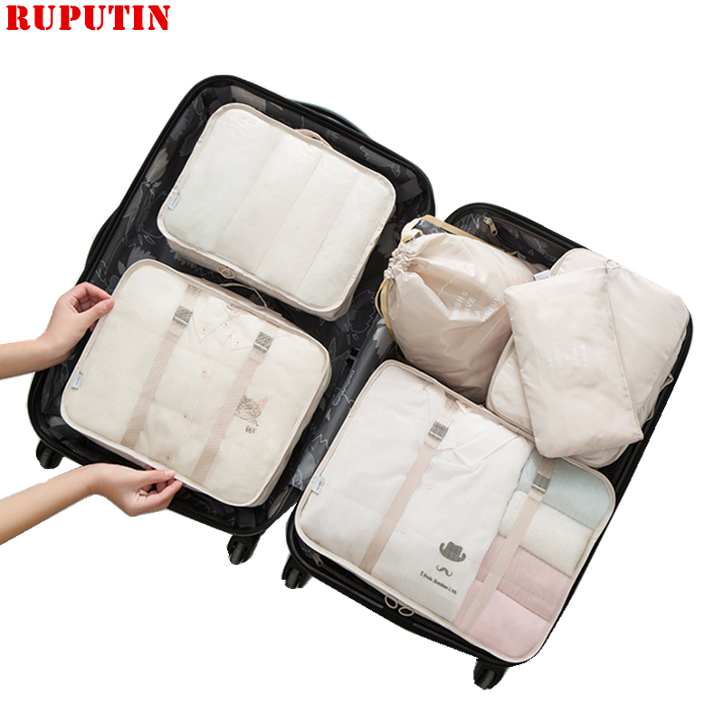 RUPUTIN 6PCS/Set Waterproof Luggage Travel Organizer Bag Big For Men Women Multifunction Underwear Finishing Travel Accessories