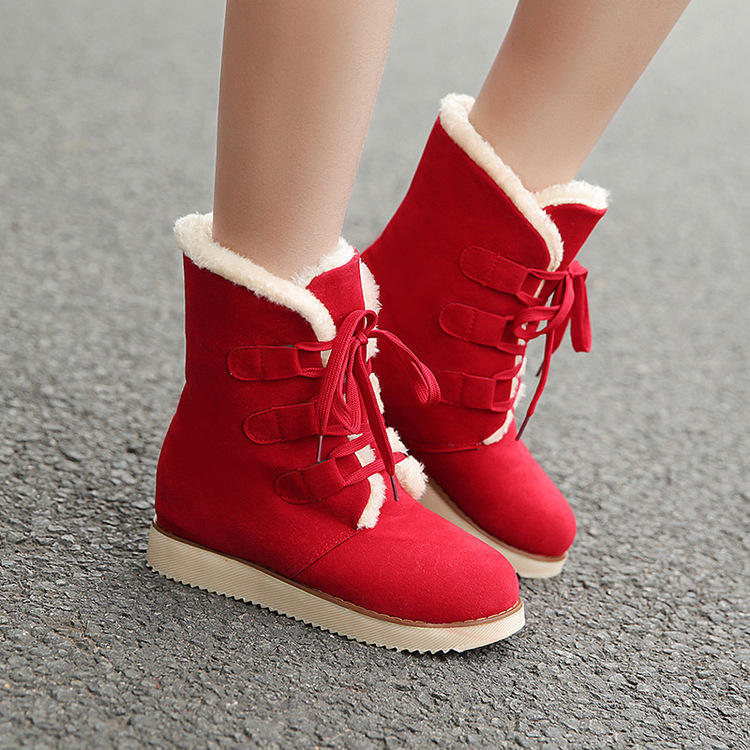 Brand Women Boots Female Winter Shoes Woman Warm Snow Boots Fashion Flock Ankle Boots Bl ...