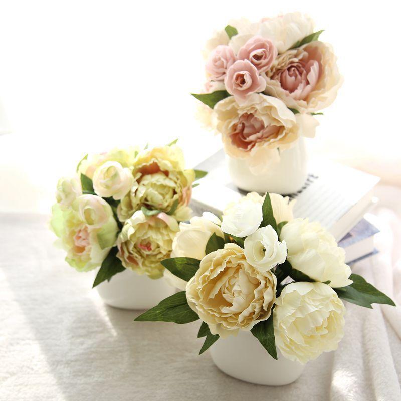 1 뭉치 인공 꽃 작약 꽃다발 농촌 나라 스타일 결혼식 파티 홈 장식 BQ004