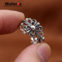 Genuine 100 999 Sterling Silver Vintage Punk Personalized Adjustable Openwork Cross Flower Ring For Women Men
