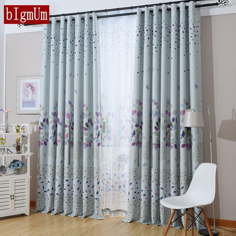 Dining Room Curtain Panels: Modern Leaves Korean Garden Curtain For Living Room Dining