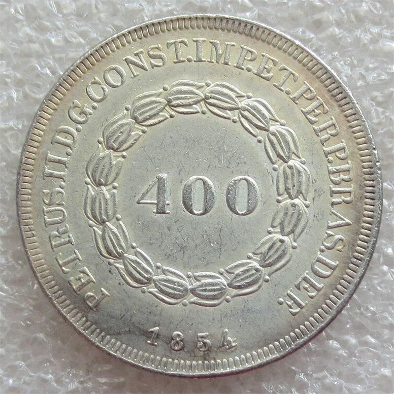 1834 Бразилия 400 Reis Серебряный империи Pedro II копирования монеты