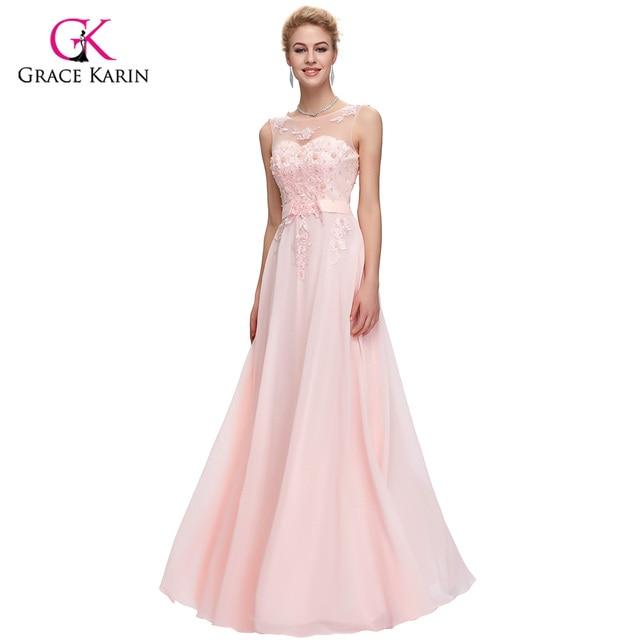 Pink Long elegant Prom Dresses 2018 Grace Karin Beaded Chiffon ...