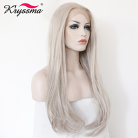Ash Blonde Grey Wig Long Natural Straight Wigs for Women Party Hair Natural Hairline Synthetic lace Front Wig Glueless Heat OK
