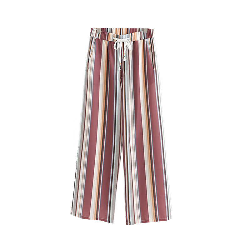 Women Striped Loose Casual   Wide     Leg     Pant   High Waist Summer   Pant   Trousers