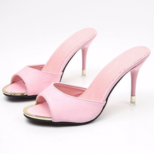 2019 Summer New solid color lady clear heels fashion high heel Korean version slippers women