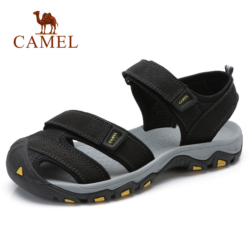 Camel Men 2018 Summer New Sandals Frosted leather Hook&Loop Round Head Outdoor Casaul Beach Sandals Antiskid Flexible A822396332