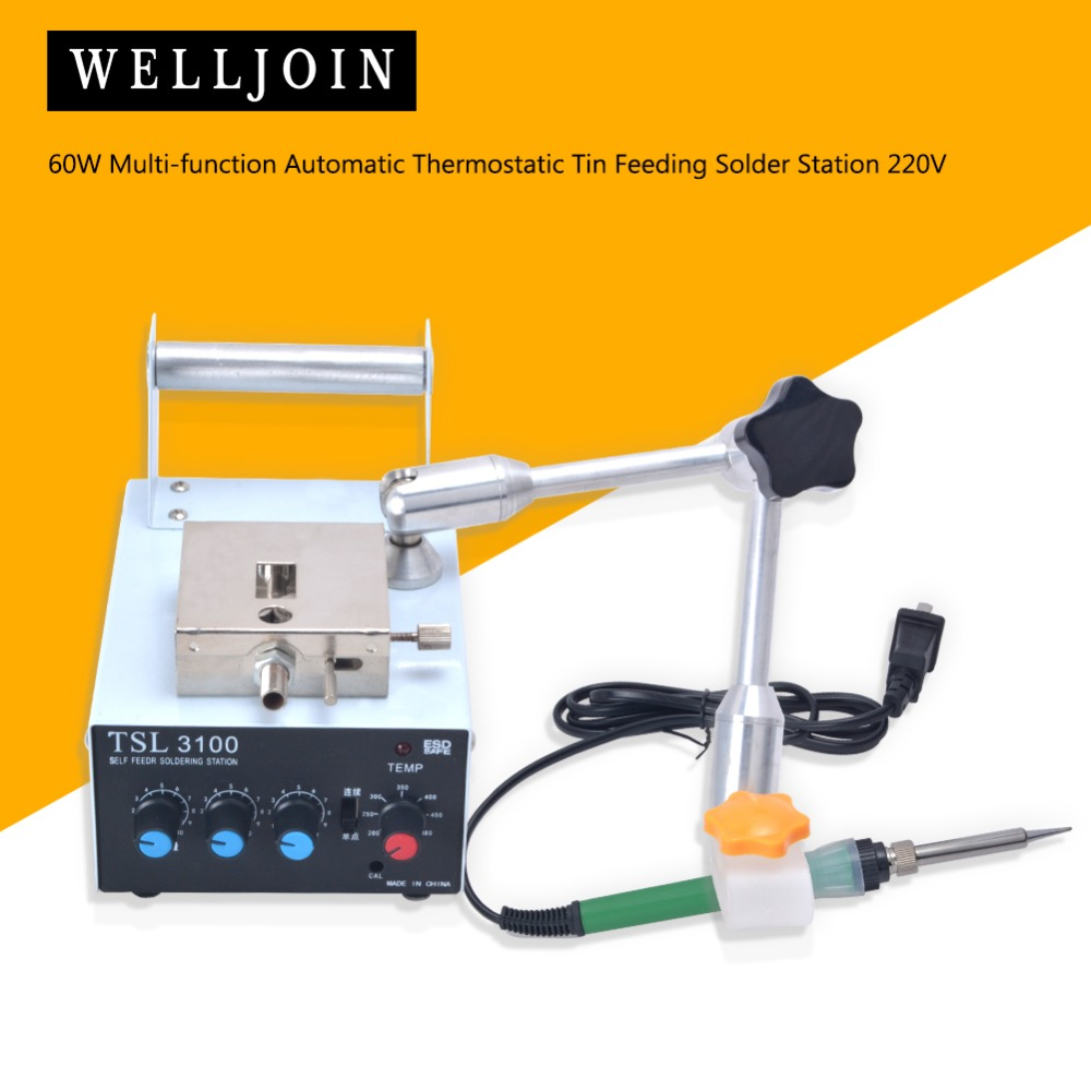 60W 220V Mul function Automatic Thermostatic Tin Feeding Solder Station Power Tool Accessories     - title=