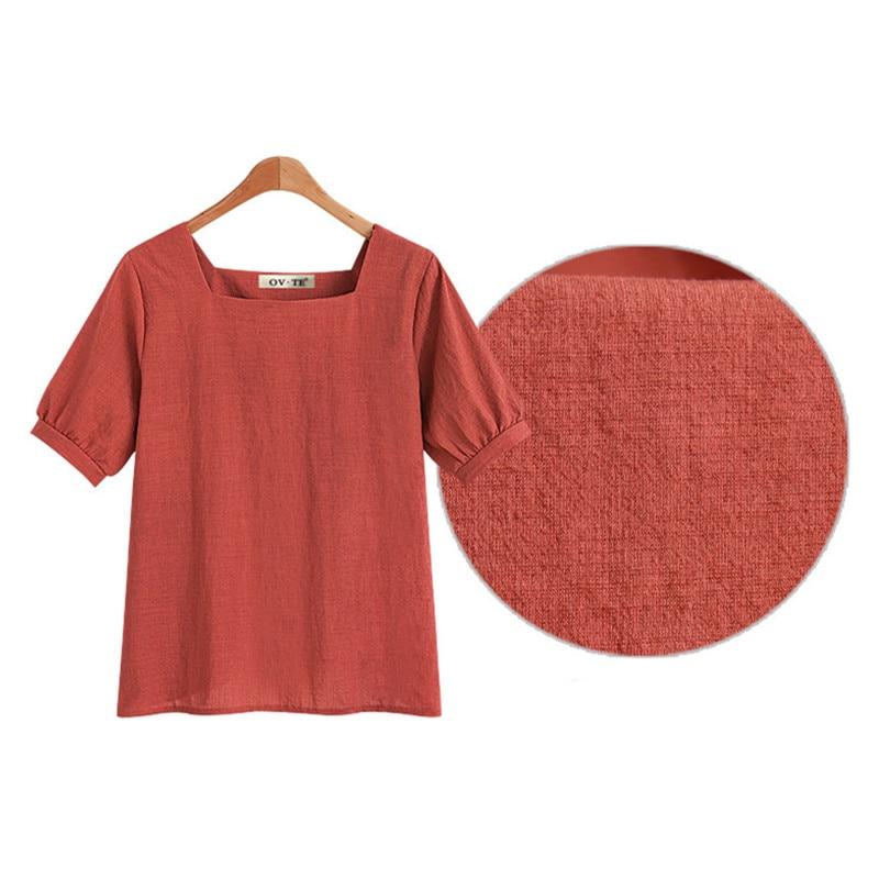 2018 Summer Cotton Linen Women   Blouse     Shirt   Red Khaki Black Casual Chiffon   Blouses   Soft Breathable Female Tops Ladies Clothes