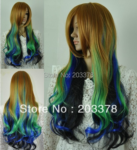 New Long wavy Multi-colors mixed cosplay hair Wigs10pcs/lot mix order