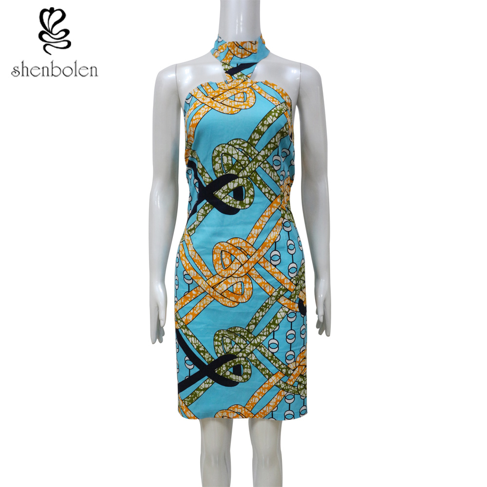 2017 summer africa dress of womens African printed 100% cotton wax batik  fabric turtleneck dresses sexy backless sheath-in Dresses from Women s  Clothing on ... 901267e39b