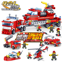 348pcs City Fire Trucks Car Helicopter Boat Building Blocks Sets Creator Figures Bricks Toys for Children цены