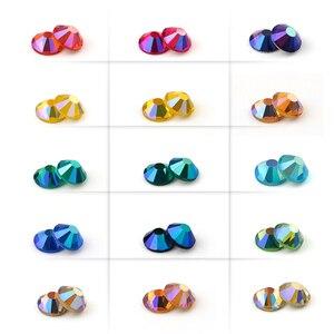 Image 2 - SS6 SS30 Multi color Crystal AB Hot Fix Rhinestone Crystal Super Glitter Strass Iron On Rhinestones For Nail Art Fabric Garment