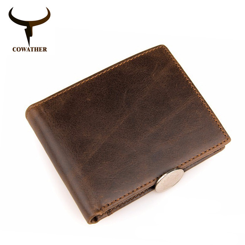COWATHER 2017 cross 100% genuine cow leather shiort mens wallet for men vintage good male purse carteira masculina free shipping cowather new 100
