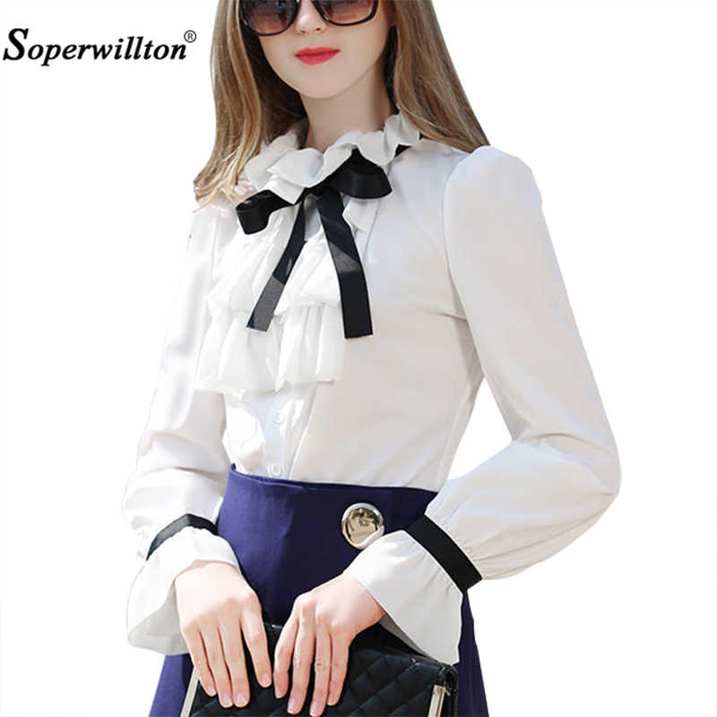c678f04dccaf10 New 2019 Spring Women Blouse Long Puff Sleeved White Shirt Bow Ruffles  Fashion Chiffon Blouses For